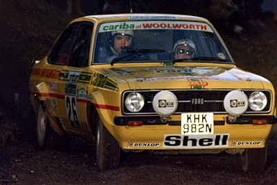 Andrew Marriott co-driving in the 1977 RAC Rally