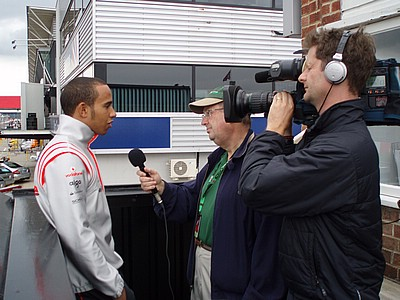 Andrew Marriott interviewing Lewis Hamilton
